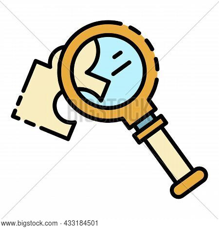 Magnify Glass Puzzle Icon. Outline Magnify Glass Puzzle Vector Icon Color Flat Isolated On White