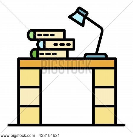 Homework Table Icon. Outline Homework Table Vector Icon Color Flat Isolated On White