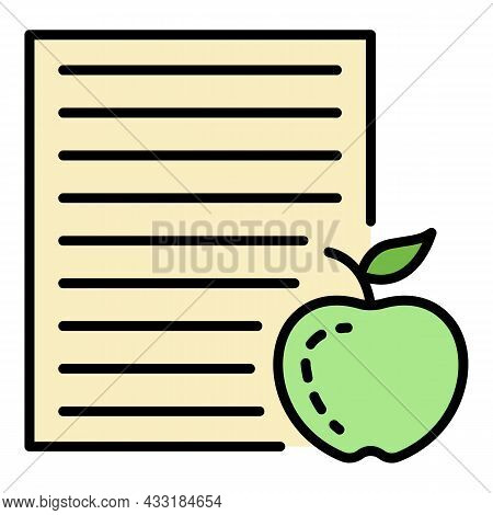 Homework Paper Apple Icon. Outline Homework Paper Apple Vector Icon Color Flat Isolated On White