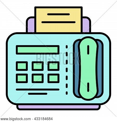 Fax Telephone Icon. Outline Fax Telephone Vector Icon Color Flat Isolated On White
