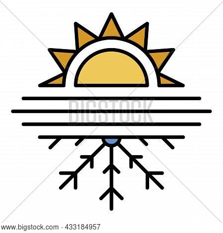 Hot Cold Conditioner Icon. Outline Hot Cold Conditioner Vector Icon Color Flat Isolated On White