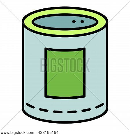 Food Tin Can Icon. Outline Food Tin Can Vector Icon Color Flat Isolated On White
