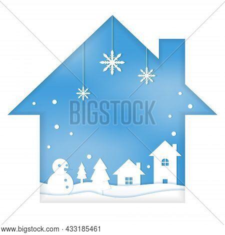 Snowman House Snow Winter Season Paper Cut Style Illustration