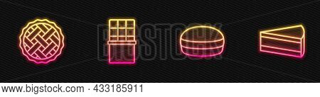 Set Line Macaron Cookie, Homemade Pie, Chocolate Bar And Piece Of Cake. Glowing Neon Icon. Vector