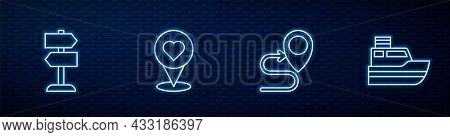 Set Line Route Location, Road Traffic Sign, Location With Heart And Ship Line Path. Glowing Neon Ico
