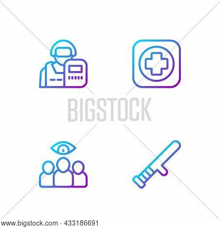 Set Line Police Rubber Baton, Spy, Agent, Officer And Hospital Signboard. Gradient Color Icons. Vect