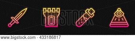 Set Line Bottle With Potion, Dagger, Castle Tower And Masons. Glowing Neon Icon. Vector