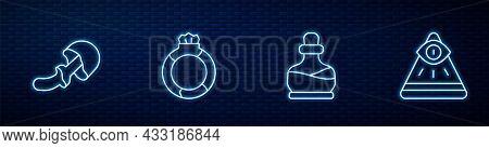 Set Line Bottle With Potion, Psilocybin Mushroom, Magic Stone Ring Gem And Masons. Glowing Neon Icon