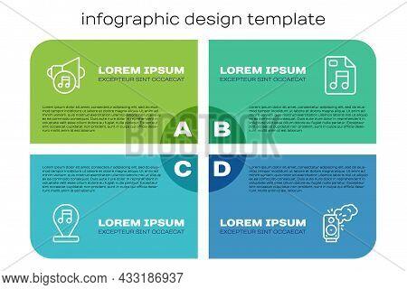 Set Line Music Note, Tone, Speaker Volume, Stereo Speaker And Mp3 File Document. Business Infographi