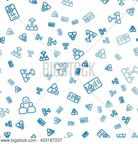 Set Line Complicated Relationship, Dating App Online And Project Team Base On Seamless Pattern. Vect