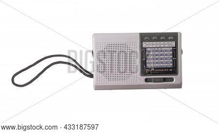 Vintage Analog Radio Isolated On A White Background. Vintage Radio Equipment.