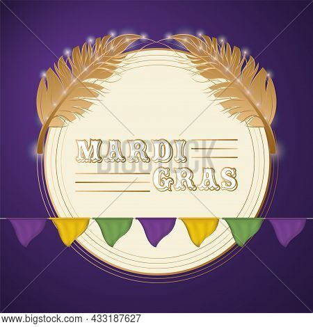 Isolated Label With A Pair Of Feathers Colored Mardi Gras Poster Vector