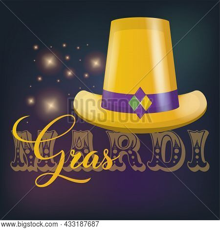 Isolated Golden Hat Colored Mardi Gras Poster Vector