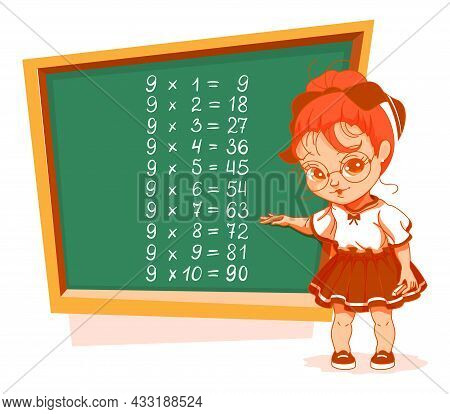 Schoolgirl At Blackboard 9 Nine Multiplication Table Vector Cartoon