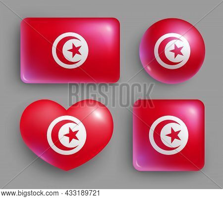Set Of Glossy Buttons With Tunisia Country Flag. Northern African Country National Flag, Red Shiny G