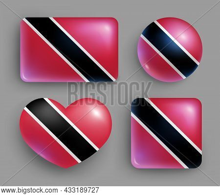 Trinidad And Tobago Country Flag Glossy Button Set. American Island State National Flag, Shiny Geome