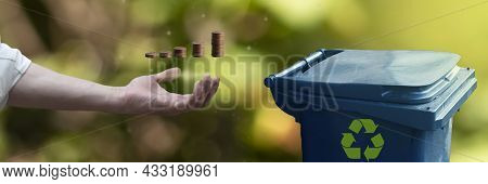 Businessman Hand Holds Stack Of Coins. Way To Make Money. Separate Garbage Collection, Recycling And