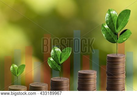 Financial Developments Business Growth With Growing Tree On Stack Coin And Digital Graph. Business D