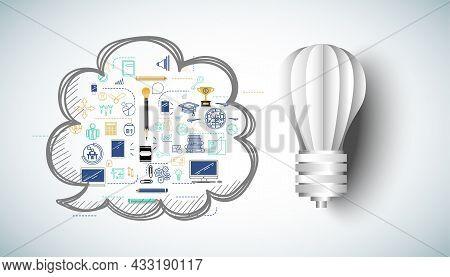 Light Bulb Idea. Plan Think Analyze Creative Startup Business. Illustration Creativity Modern Concep