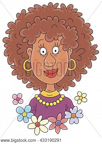 Smiling Curly Woman With An Exotic Afro Hairdo, Vector Cartoon Illustration Isolated On A White Back