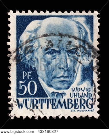 ZAGREB, CROATIA - JUNE 22, 2014: Stamp printed in Germany, French Occupation of Wurttemberg shows Ludwig Uhland, poet, philologist and literary historian, circa 1948
