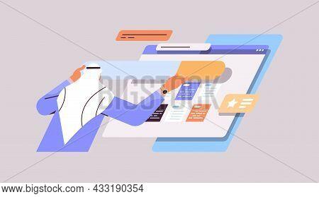 Arab Man Developer Creating Website Ui Interface Web Application Development Program Software Optimi