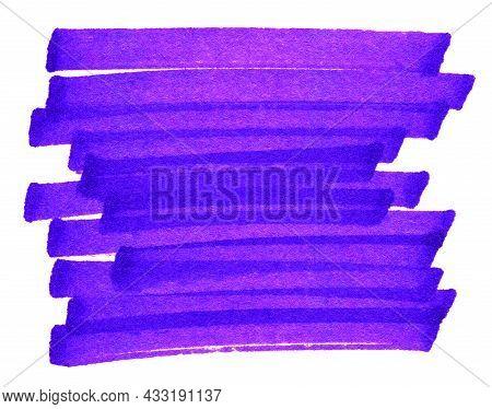 Highlight Pen Brush Purple For Marker, Highlighter Brush Marking For Headline, Scribble Mark Stroke