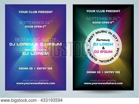 Set Of Two Vector Party Music, Dj Colorful Flyer Club Invitation Template
