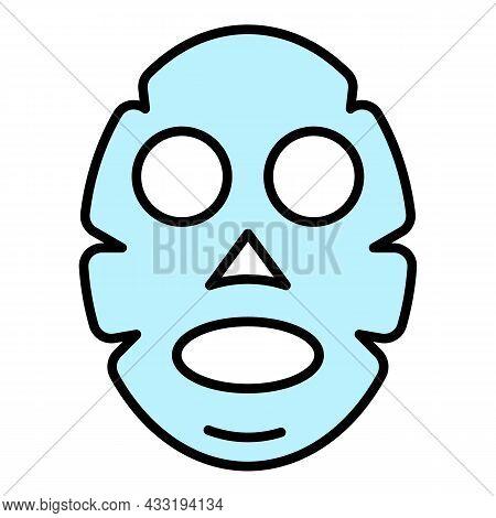 Aloe Vera Face Mask Icon. Outline Aloe Vera Face Mask Vector Icon Color Flat Isolated On White