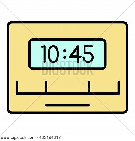 Reminder Timer Clock Icon. Outline Reminder Timer Clock Vector Icon Color Flat Isolated On White