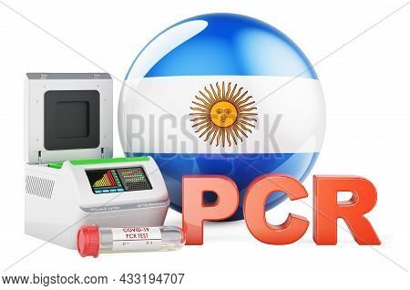 Pcr Test For Covid-19 In Argentina, Concept. Pcr Thermal Cycler With Argentinean Flag, 3d Rendering