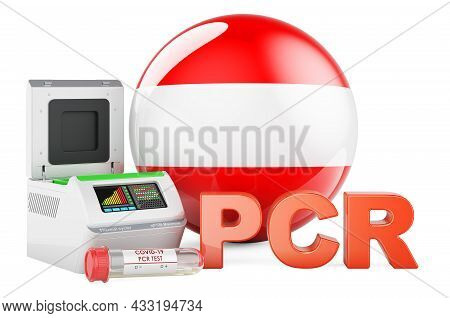Pcr Test For Covid-19 In Austria, Concept. Pcr Thermal Cycler With Austrian Flag, 3d Rendering Isola