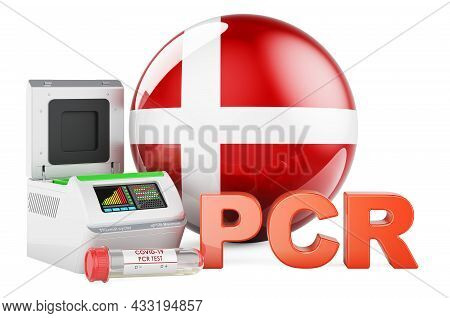 Pcr Test For Covid-19 In Denmark, Concept. Pcr Thermal Cycler With Danish Flag, 3d Rendering Isolate