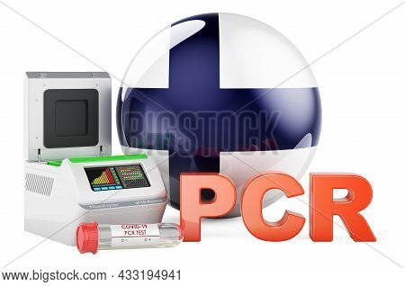 Pcr Test For Covid-19 In Finland, Concept. Pcr Thermal Cycler With Finnish Flag, 3d Rendering Isolat