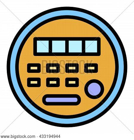Electric Energy Meter Icon. Outline Electric Energy Meter Vector Icon Color Flat Isolated On White