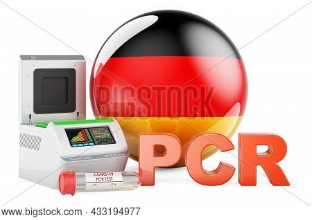 Pcr Test For Covid-19 In Germany, Concept. Pcr Thermal Cycler With German Flag, 3d Rendering Isolate