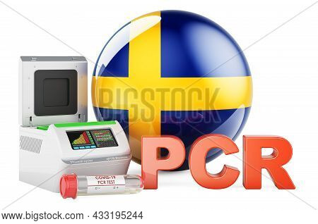 Pcr Test For Covid-19 In Sweden, Concept. Pcr Thermal Cycler With Swedish Flag, 3d Rendering Isolate