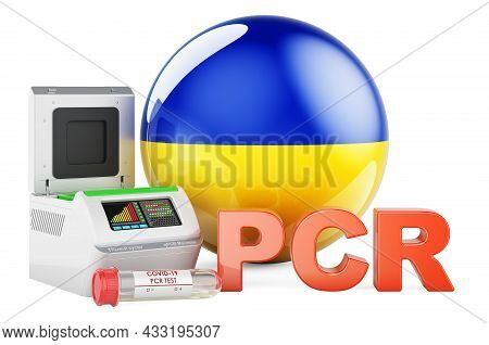Pcr Test For Covid-19 In Ukraine, Concept. Pcr Thermal Cycler With Ukrainian Flag, 3d Rendering Isol
