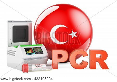 Pcr Test For Covid-19 In Turkey, Concept. Pcr Thermal Cycler With Turkish Flag, 3d Rendering Isolate