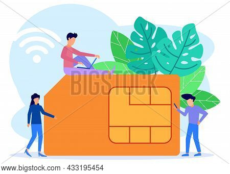 Modern Style Vector Illustration, People Around Mobile Sim Card, Microcircuits, Cell Phone Communica