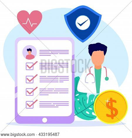 Vector Illustration Of Health Insurance Concept, Doctors Filling Out Medical Insurance Forms, Health