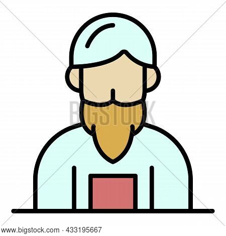 Anvil Man Icon. Outline Anvil Man Vector Icon Color Flat Isolated On White