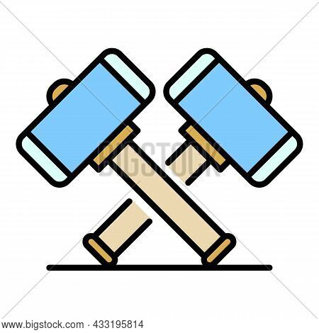 Crossed Sledge Hammer Icon. Outline Crossed Sledge Hammer Vector Icon Color Flat Isolated On White