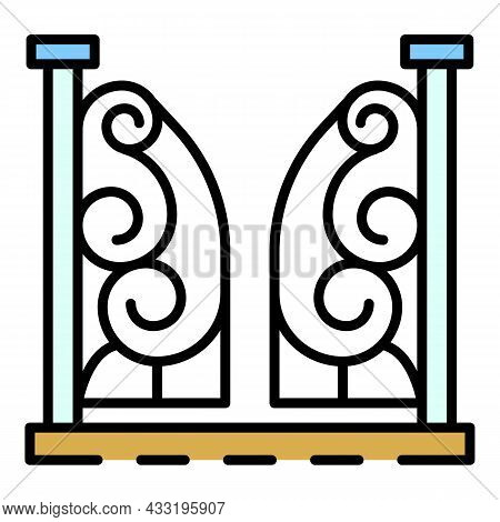 Anvil Gate Icon. Outline Anvil Gate Vector Icon Color Flat Isolated On White