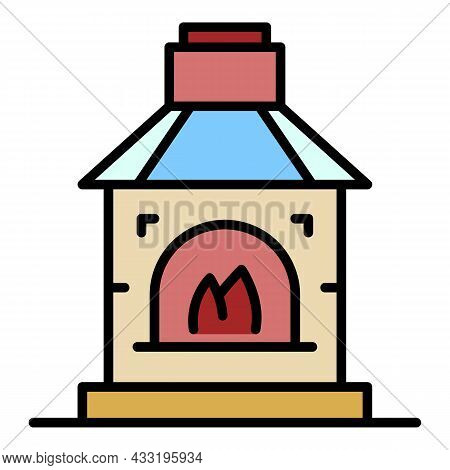 Blacksmith Fireplace Icon. Outline Blacksmith Fireplace Vector Icon Color Flat Isolated On White