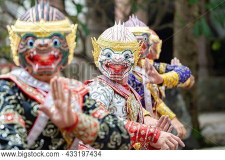 The Performance Of Thai Traditional Drama Story Khon Epic, Ramakien Or Ramayana With Hanuman (white