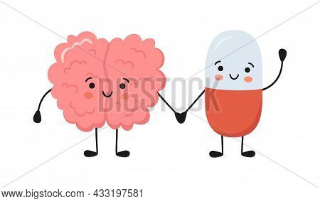 Healthy Brain Character And Happy Smiling Medicine Pill Characters Hold Hands. Kawaii Capsule And Cu