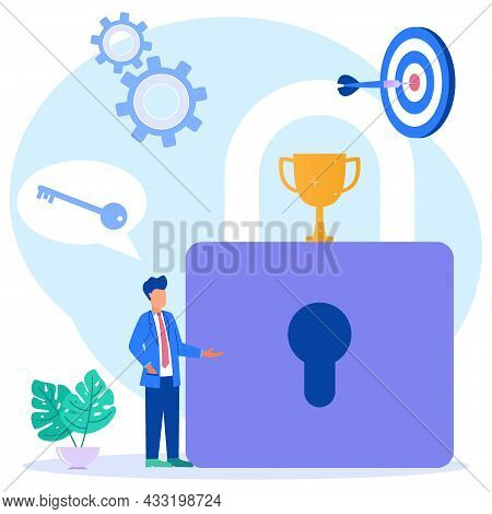 Vector Illustration Of Business Concept, Character Of People With Key To Business Success. Illustrat