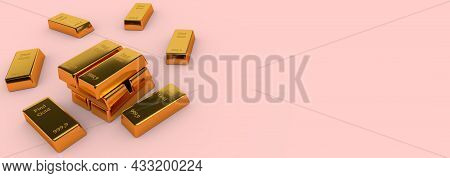 Gold Bank Bullions With Blank Copy Space Background. Business And Finance Concept. 3d Rendering