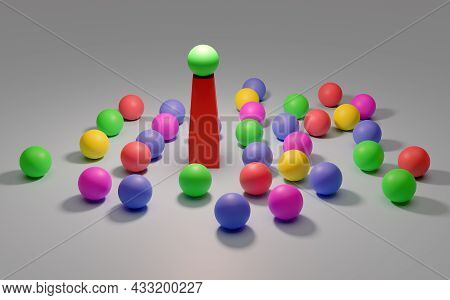 Leadership. Conceptual Image Of A Leader And Subordinates. Business Teamwork. Colorful Balloons.